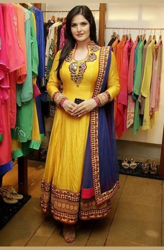 zarine-khan-in-yellow-semi-stitched-bollywood-designer-suit