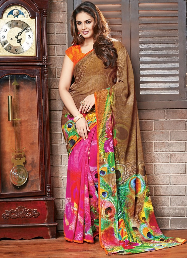 huma-qureshi-hot-pink-brown-georgette