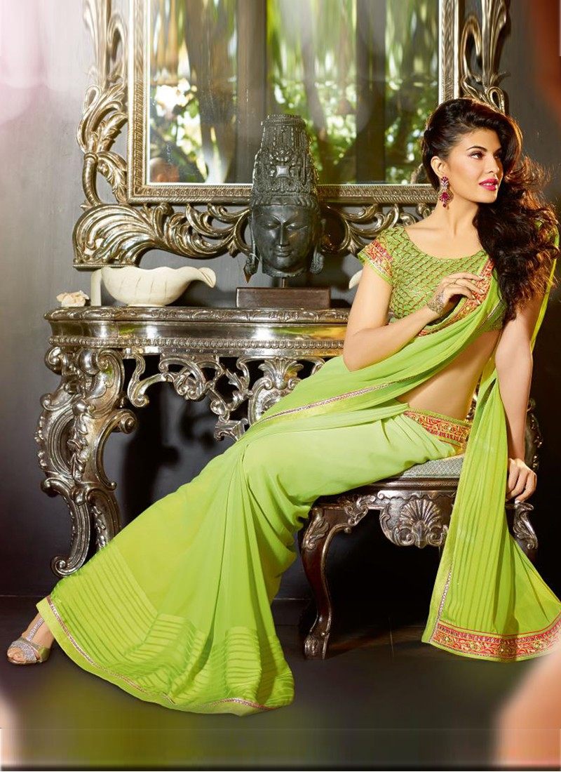 jacqueline-fernandez-green-party-wear-saree