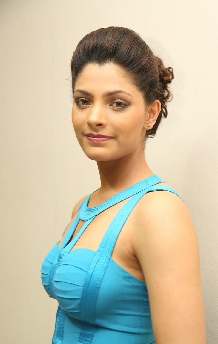 Saiyami Kher Latest HD Photos in Blue Top Black Skirt Dress