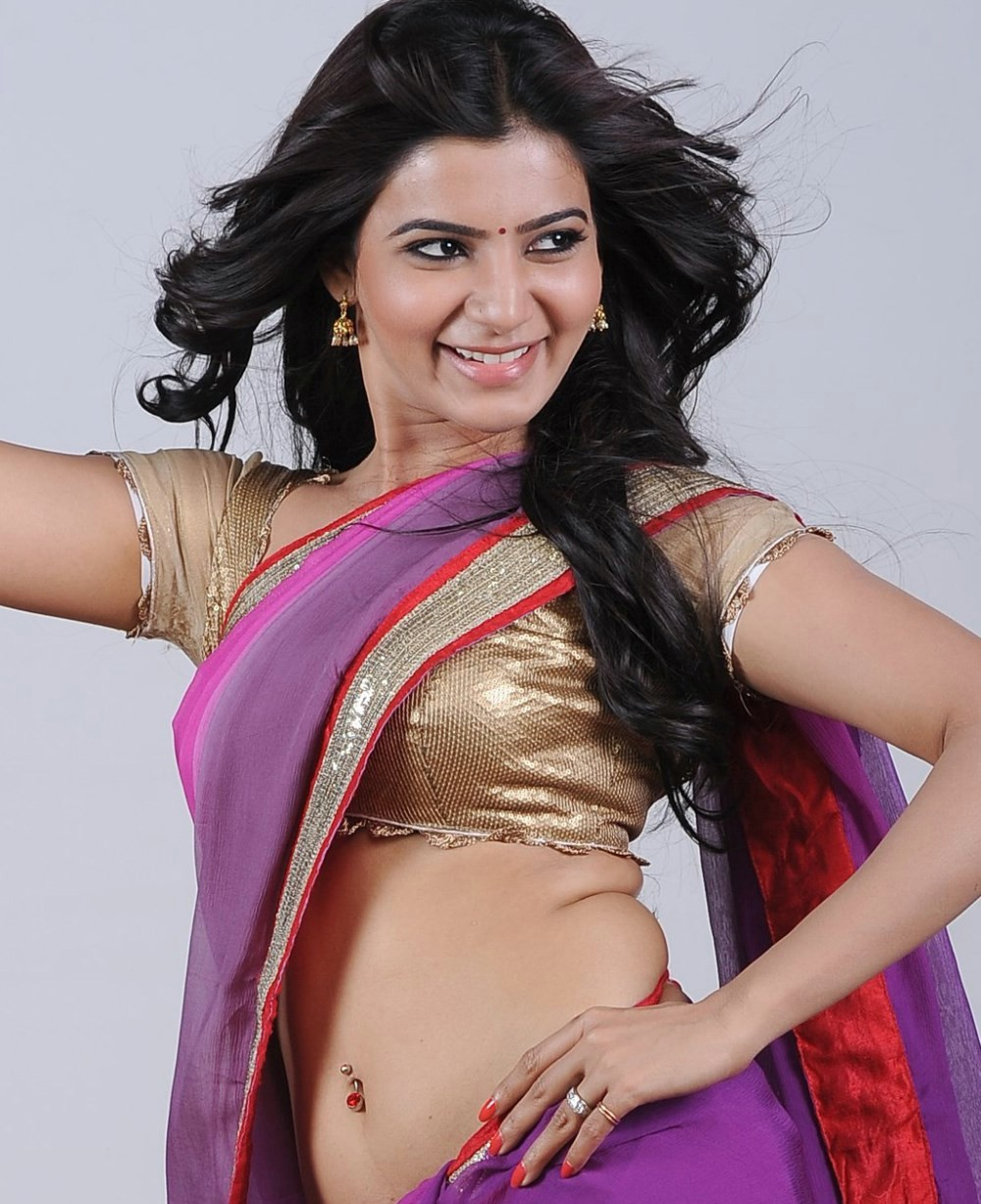 Actress Samantha Hot in Violet Saree Photo Shoot Stills