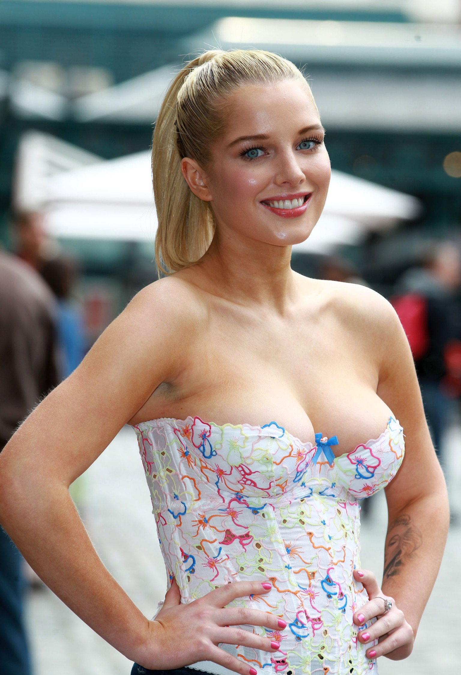 LONDON, UNITED KINGDOM - MAY 23: Helen Flanagan unveils her new PETA campaign at Covent Garden Piazza on May 23, 2013 in London, England. (Photo by Fred Duval/FilmMagic)