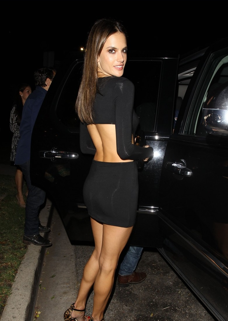 **NO Australia, New Zealand** West Hollywood, CA - Alessandra Ambrosio looks mesmerizing as she celebrates her 33rd birthday early over a sushi dinner at Koi followed by a visit to 1 OAK Nightclub. The Victorias Secret model wore a cut-out little black dress and leopard print Christian Louboutin sandals. She was joined friends and her significant other Jamie Mazur (not pictured) for her fun night out in West Hollywood. Alessandra blew a sexy kiss to photographers as she headed out after the club. AKM-GSI April 9, 2014 **NO Australia, New Zealand** To License These Photos, Please Contact : Steve Ginsburg (310) 505-8447 (323) 423-9397 steve@akmgsi.com sales@akmgsi.com or Maria Buda (917) 242-1505 mbuda@akmgsi.com ginsburgspalyinc@gmail.com