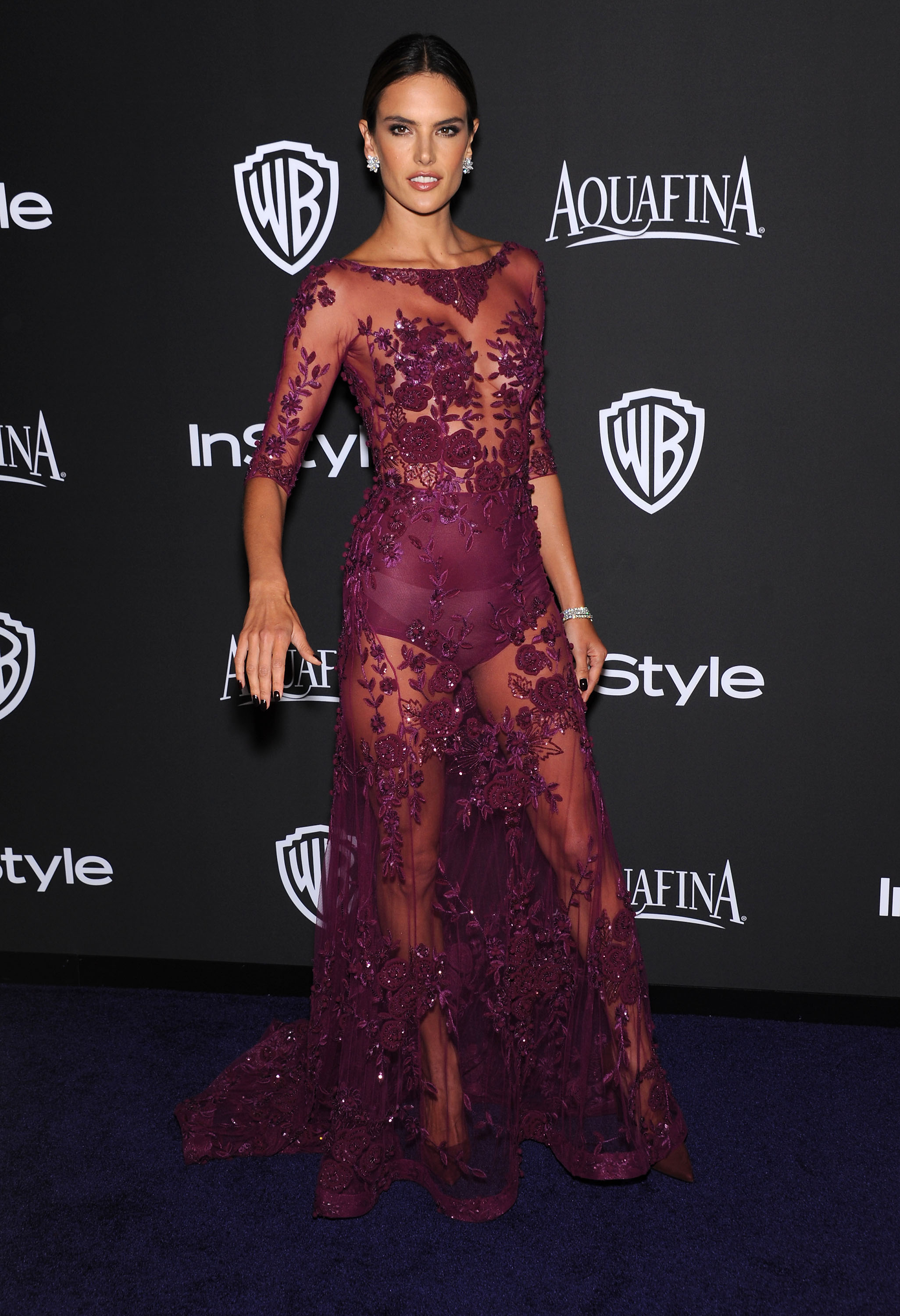 Stars arrive to the WB InStyle Golden Globe After Party at the Beverly Hilton Hotel. Pictured: Alessandra Ambrosio Ref: SPL926040 120115 Picture by: Nate Beckett/Splash News Splash News and Pictures Los Angeles:310-821-2666 New York: 212-619-2666 London: 870-934-2666 photodesk@splashnews.com