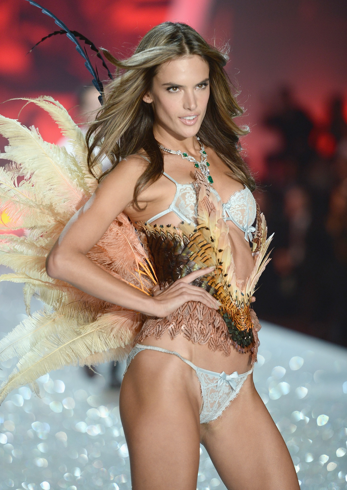 NEW YORK, NY - NOVEMBER 13: Model Alessandra Ambrosio walks the runway at the 2013 Victoria's Secret Fashion Show at Lexington Avenue Armory on November 13, 2013 in New York City. (Photo by Dimitrios Kambouris/Getty Images for Victoria's Secret)