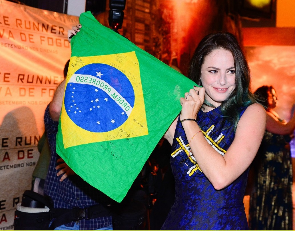 Sao Paulo, Brazil - English actress Kaya Scodelario and co-star Giancarlo Esposito attend the Brazilian premiere of 'Maze Runner: The Scorch Trials,' the young actress couldn't hide her emotions as she gets a Brazilian flag autographed by her fans. AKM-GSI September 1, 2015 To License These Photos, Please Contact : Steve Ginsburg (310) 505-8447 (323) 423-9397 steve@akmgsi.com sales@akmgsi.com or Maria Buda (917) 242-1505 mbuda@akmgsi.com ginsburgspalyinc@gmail.com