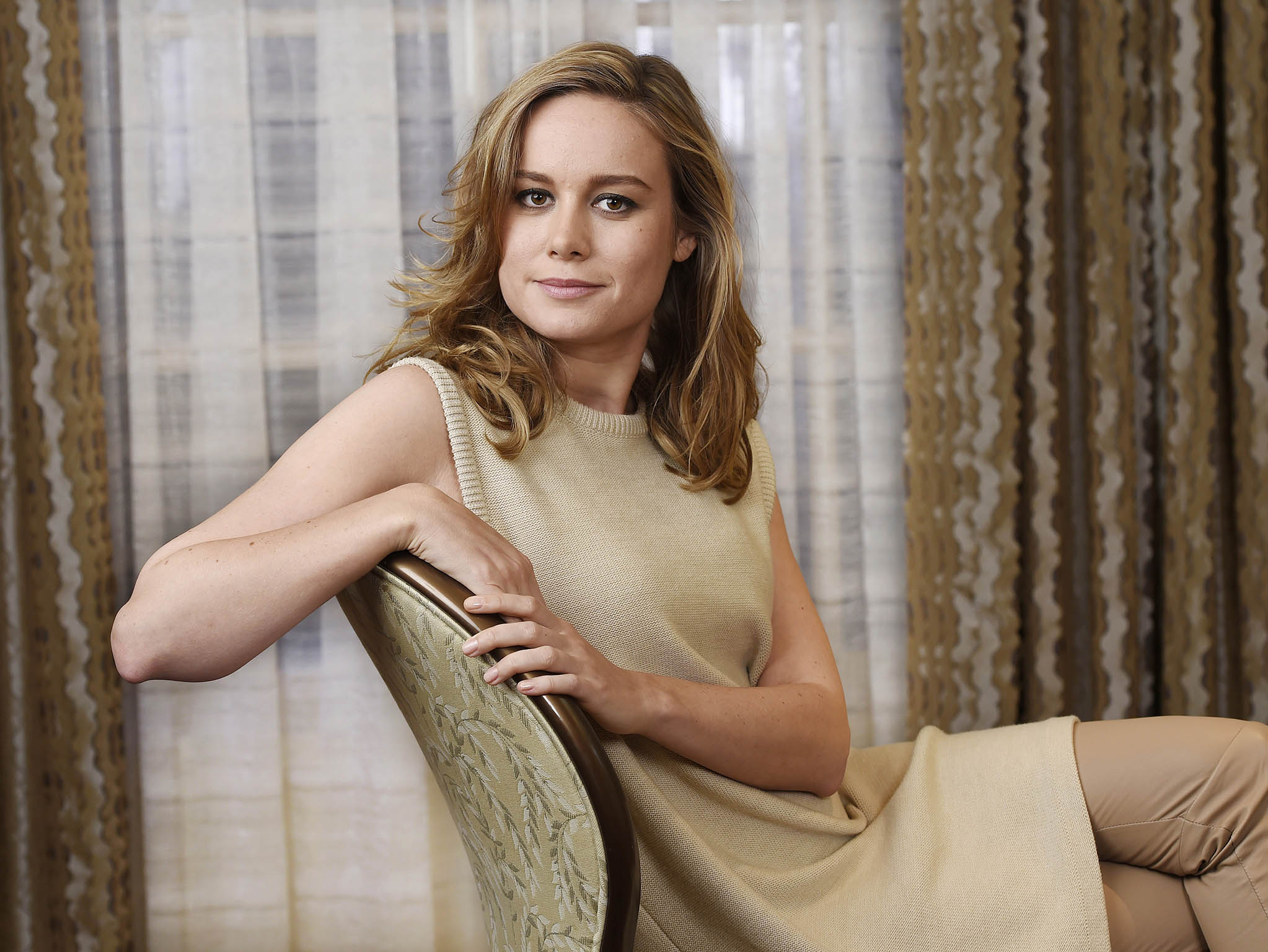 "In this Wed., Sept. 30, 2015 photo, actress Brie Larson poses for a portrait at the Four Seasons Hotel in Los Angeles. Larson stars as Ma in the new film, ""Room."" The movie opens in U.S. theaters on Oct. 16, 2015. (Photo by Chris Pizzello/Invision/AP)"