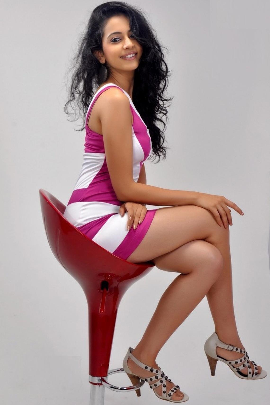 Rakul Preet Singh Rare Photoshoot Photos in White and Pink Skater Dress