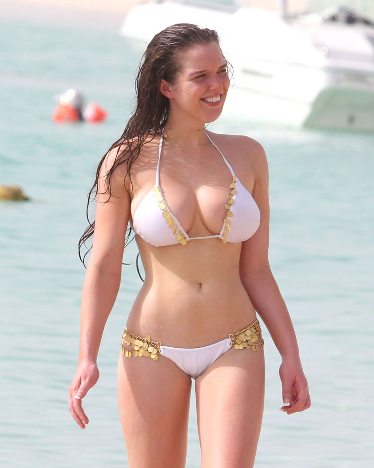 HELEN FLANAGAN in Bikini on the Beach in Dubai